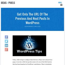 Get Only The URL Of The Previous And Next Posts In WordPress - Ideas and Pixels