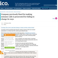 Company previously fined for making nuisance calls is prosecuted for failing to change its ways