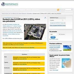 Suntech vise 2,2 GW en 2011 (+20%), relève ses prévisions