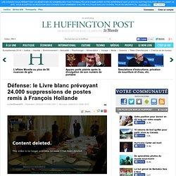 Défense: le Livre blanc prévoyant 24.000 suppressions de postes remis à François Hollande