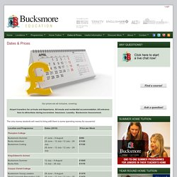 Dates & Prices - Bucksmore Summer Programmes