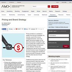 Pricing and Brand Strategy