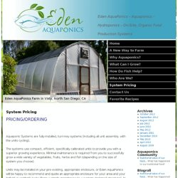 System Pricing | Aquaponics - Hydroponics