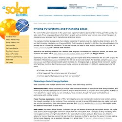 Pricing and Financing a Solar Electricity System