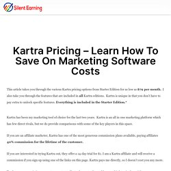 Kartra Pricing – Learn How To Save On Marketing Software Costs – Silent Earning
