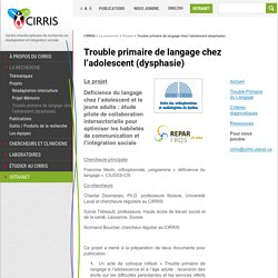Trouble primaire de langage chez l'adolescent (dysphasie)