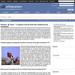 """Primaire : M. Fayol : """" L'urgence c'est de réunir des conférences de consensus"""""""