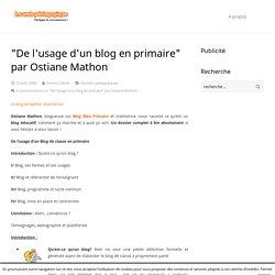 """""""De l'usage d'un blog en primaire"""" par Ostiane Mathon"""