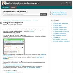 Un blog pour le primaire : LeWebPedagogique - Que faire avec un blog ?