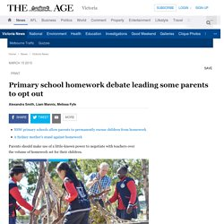 Primary school homework debate leading some parents to opt out