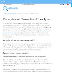 Primary Market Research and Their Types - Ava Research