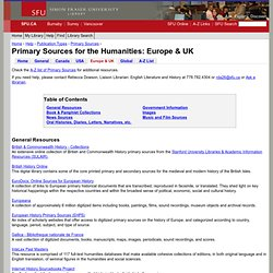 Primary Sources for the Humanities: Europe & UK