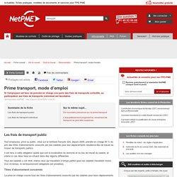 Prime transport, mode d'emploi - NetPME