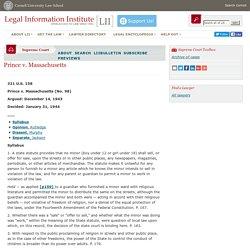 Legal Information Institute: Prince v. Massachusetts (1944)