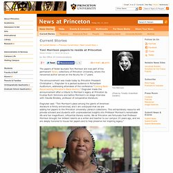 Toni Morrison papers to reside at Princeton