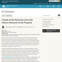 Friends of the Princeton University Library Research Grant Program