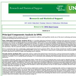 RSS SPSS Short Course Module 9 Principal Components Analysis 1