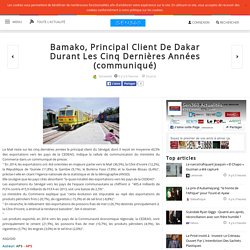Bamako, Principal Client De Dakar Durant Les Cinq Dernières Années (communiqué)