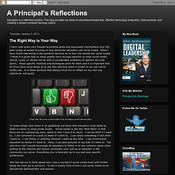 A Principal's Reflections: The Right Way is Your Way