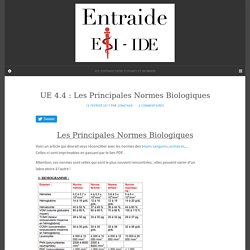 UE 4.4 : Les Principales Normes Biologiques – ENTRAIDE ESI IDE