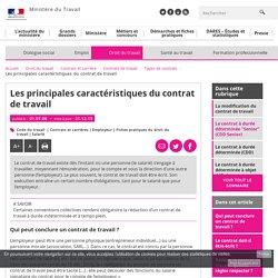 Les principales caractéristiques du contrat de travail - Types de contrats