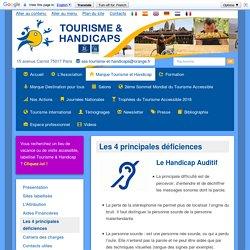 Les 4 principales déficiences Tourisme et Handicaps