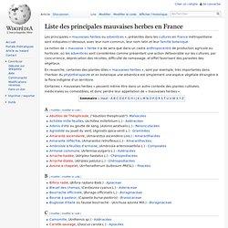 Liste des principales mauvaises herbes en France