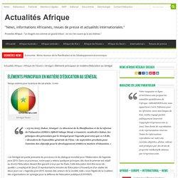 Éléments principaux en matière d'éducation au Sénégal