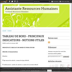 TABLEAU DE BORD - PRINCIPAUX INDICATEURS - NOTIONS UTILES - Assistante Ressources Humaines