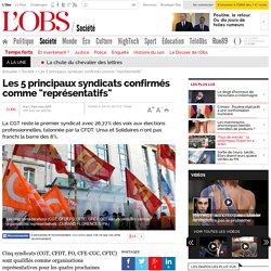 "Les 5 principaux syndicats confirmés comme ""représentatifs""- 29 mars 2013"