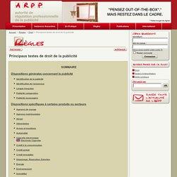 ARPP Principaux textes de droit de la publicité