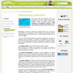 Principe de la certification