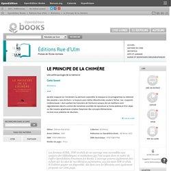 Le Principe de la chimère - Éditions Rue d'Ulm