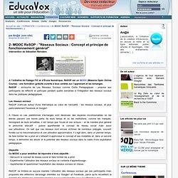"""MOOC ReSOP : """"Réseaux Sociaux : Concept et principe de fonctionnement général"""""""
