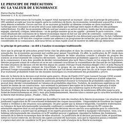 Le principe de précaution ou la valeur de l'ignorance - Mozilla