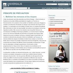PRINCIPE DE PRÉCAUTION, Maîtriser les menaces et les ...