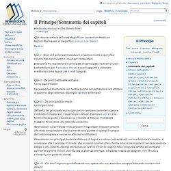 Il Principe/Sommario dei capitoli - Wikibooks, manuali e libri di testo liberi
