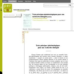 Trois principes épistémologiques pour une recherche dialogale
