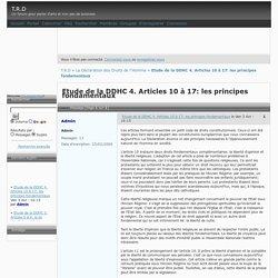 Etude de la DDHC 4. Articles 10 à 17: les principes fondamentaux