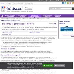 Principes généraux de l'éducation - Les principes généraux de l'éducation