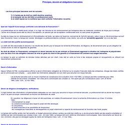 Principes, devoirs et obligations bancaires