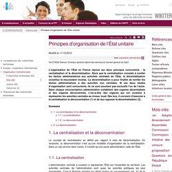 Principes d'organisation de l'État unitaire (Notions-Cles ...