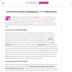 Concept & principes pédagogiques – 5 : l'individu-plus