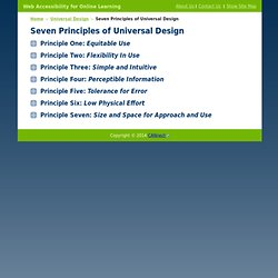 Seven Principles - Universal Design - Web Accessibility for Online Learning