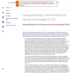George Berkeley, The Principles Of Human Knowledge (1710): Western Civilization II