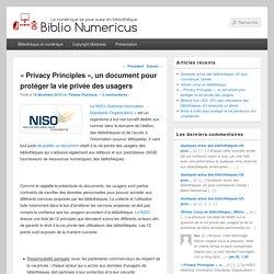 «Privacy Principles», un document pour protéger la vie privée des usagers