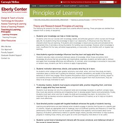 Learning Principles - Teaching Excellence & Educational Innovation