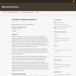 Principles of Effective Research
