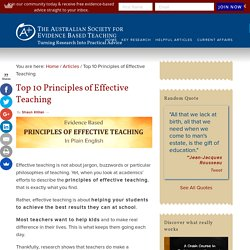 Top 10 Principles of Effective Teaching
