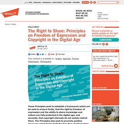 The Right to Share: Principles on Freedom of Expression and Copyright